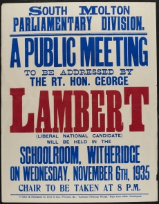 Poster from George Lambert, MP for South Molton, election campaign (thanks to Devon Heritage Centre)
