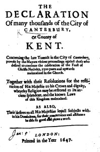 'Declaration of many Thousands of the City of Canterbury'