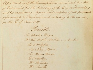 Minutes of the first meeting of Longitude Commissioners, 1737 (C) Cambridge University Library