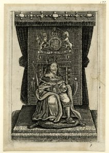 Portrait of Charles I enthroned, engraving © Trustees of the British Museum