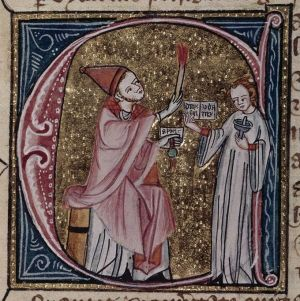 A bishop issues a sentence of excommunication, BL Royal 6 E VI f. 216v