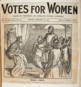 """Cartoon captioned """"Magna Carta"""" in Votes for Women, 27 January 1911 (held in the BL)"""