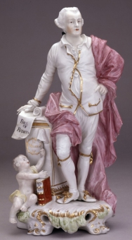 Porcelain figure of John Wilkes, holding a scroll inscribed 'Magna Carta'.  © Trustees of the British Museum