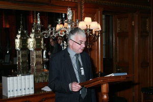 Professor Langford at the launch of the Commons 1820-32 volumes, in 2009