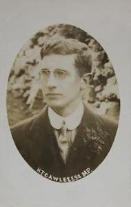 Postcard of Howard Thomas Cawley to celebrate his 1910 election (via wikipedia).