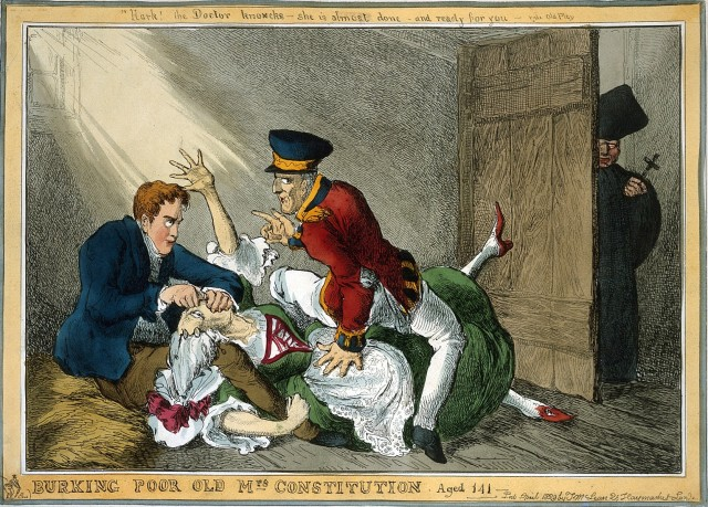 Peel and Wellington suffocating 'Mrs Constitution' while a Catholic priest looks on. Credit: Wellcome Library, London. Wellcome Images http://wellcomeimages.org Coloured etching 1829 by William Heath