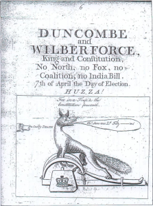 'Fox in a trap' handbill in favour of Duncombe and Wilberforce