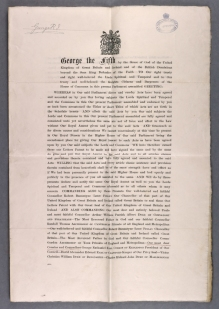 King George V gives Royal Assent