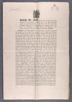 King George V gives Royal Assent