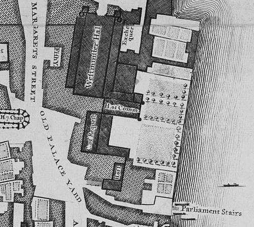 John Roque, 1746 map detail, Palace of Westminster, Wikipedia