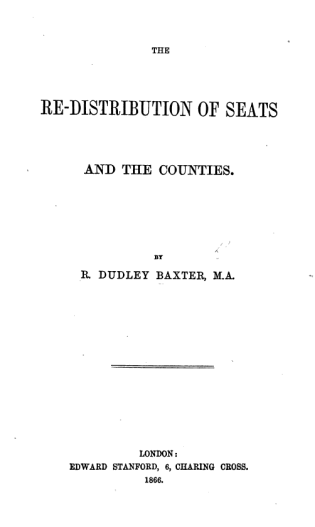 An 1866 pamphlet by Disraeli's favourite psephologist, Dudley Baxter's