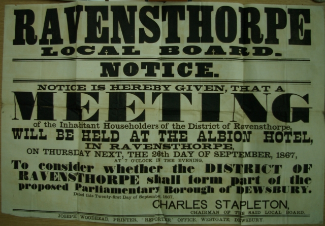 Public notice of a meeting in Ravensthorpe over the parliamentary Dewsbury (NA/T96)
