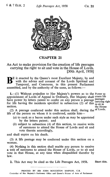 Life Peerages Act 1958