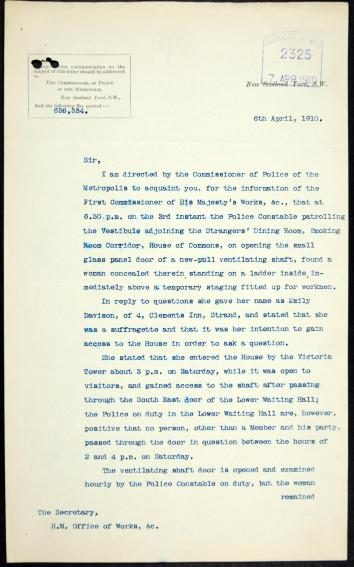 Account of Emily hiding in a ventilator shaft in the House of Commons, 1910. From an Office of Works file on damage by suffragettes. The National Archives, WORK 11/117.