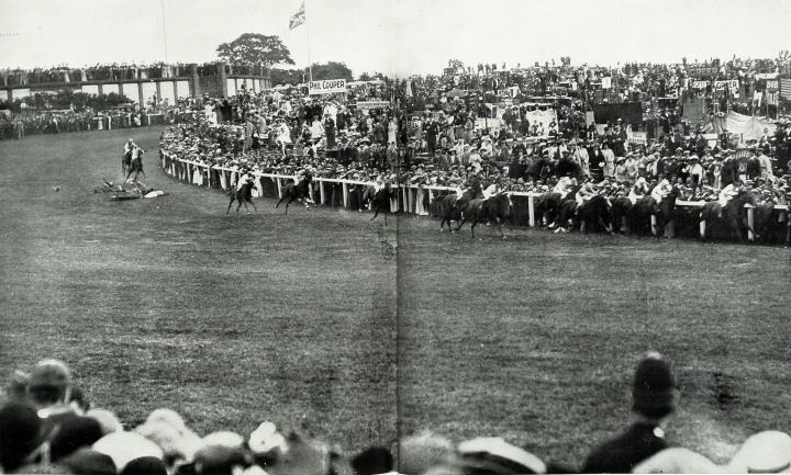 IMAGE 7 - ZPER34-142 The King's horse Anmer is brought down by suffragette Emily Davison during the Derby at Epsom 4 June 1913