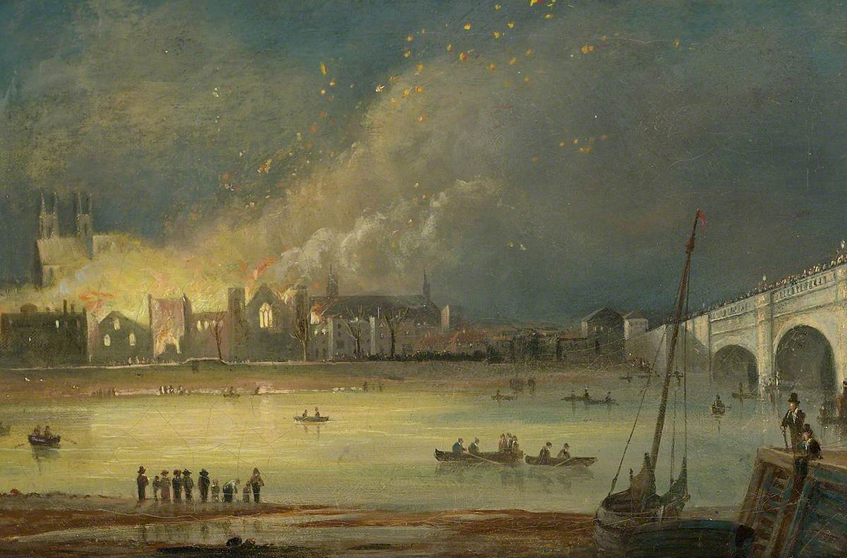 unknown artist; The Burning of the Houses of Parliament